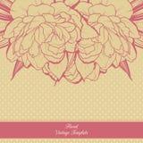 Uitstekend sierkader bloemenontwerp als achtergrond De uitnodigingsbanner van de malplaatjekaart met bloemen Schets lineaire pioe Royalty-vrije Stock Foto