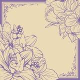 Uitstekend sierkader bloemenontwerp als achtergrond Vector illustratie De uitnodigingsbanner van de malplaatjekaart met mooie blo Stock Afbeeldingen