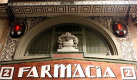 Uitstekend Spaans apotheekteken Stock Fotografie