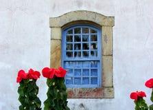 Uitstekend-stijl blauw venster Stock Afbeelding