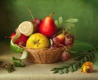 Uitstekend stilleven met mand vruchten over onduidelijk beeldachtergrond Royalty-vrije Stock Afbeeldingen