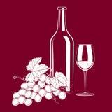 Uitstekend stilleven met wijn en druiven Stock Foto