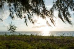 Uitstekend strand en blauwe hemel voor achtergrond Stock Afbeeldingen