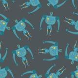 Uitstekend stuk speelgoed Robots naadloos patroon Achtergrond van cyborgs Stock Foto