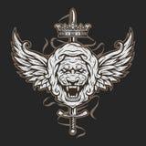 Uitstekend symbool van een leeuwhoofd en vleugels Royalty-vrije Stock Fotografie