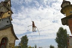 Uitstekend Toy Clown Tight-Rope Walker royalty-vrije stock afbeelding