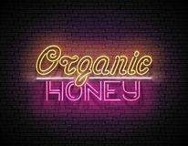 Uitstekend Uithangbord met Organisch Honey Inscription stock illustratie