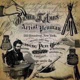 Uitstekend van de Achtergrond kalligrafiecollage Document Ontwerp - Vulpennen - Kalligrafie - Inkt - Kalligrafie royalty-vrije stock fotografie