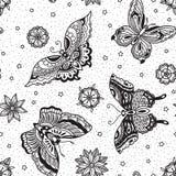 Uitstekend van de flitsvlinders en bloemen van de stijl traditioneel tatoegering naadloos patroon Royalty-vrije Stock Foto