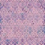 Uitstekend van het Damast Purper Roze patroon als achtergrond Stock Afbeelding