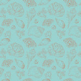 Uitstekend vector naadloos patroon van zeeschelpen Stock Illustratie