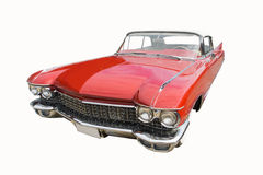 Uitstekend vervoer retro rode die auto op witte achtergrond wordt geïsoleerd Royalty-vrije Stock Foto's