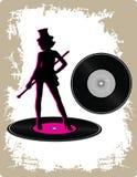 Uitstekend vinyl met dansende dame vector illustratie