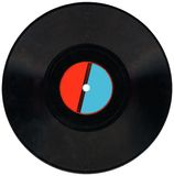 Uitstekend Vinylverslag, rood, blauw etiket, het knippen, steenkool Stock Foto