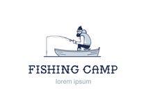 Uitstekend visserijembleem of embleem De visser vist Hipsterkenteken op witte achtergrond Vlak Ontwerp Stock Afbeeldingen