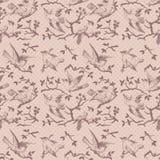 Uitstekend vogel naadloos herhaalbaar patroon in roze Stock Afbeeldingen