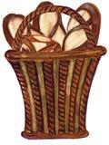 Uitstekend waterverfconcept voor een bakkerij of koffiereeks van baksel in baguette van de waterverfstijl, pretzels in mand royalty-vrije illustratie