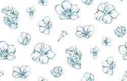 Uitstekend Wild Verspreid Bloemen Naadloos Patroon stock illustratie