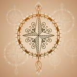 Uitstekend windrozen, pictogram en ontwerpelement Vector zeevaartetiket Stock Foto's