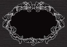 Uitstekend wit kader op zwarte achtergrond stock illustratie