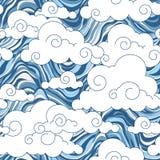 Uitstekend wolken Chinees naadloos patroon Royalty-vrije Stock Afbeelding