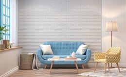 Uitstekend woonkamer 3d teruggevend beeld Stock Afbeelding