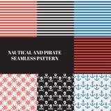 Uitstekend zeevaart en piraat naadloos patroon Stock Afbeeldingen
