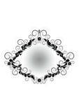 Uitstekend zwart kader met bloemenpatroon, bloemen en kruis op witte achtergrond Royalty-vrije Stock Foto's