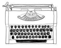 Uitstekend zwart-wit de lijnart. van de jaren '70 handschrijfmachine Royalty-vrije Stock Foto