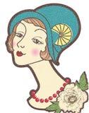 Uitstekende aardige vrouw in een hoed. De vector illustratie is Stock Afbeeldingen