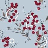 Uitstekende achtergrond behang Bloeiende realistische geïsoleerde bloemen Getrokken hand Vector illustratie Bloesem bloemen naadl stock illustratie