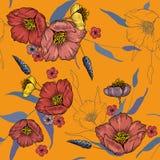 Uitstekende achtergrond behang Bloeiende realistische geïsoleerde bloemen Getrokken hand Vector illustratie Bloesem bloemen naadl royalty-vrije illustratie