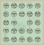 Uitstekende achtergrond-cirkel gezichten Stock Afbeeldingen