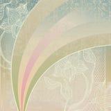 Uitstekende achtergrond met bloemen en regenboog Royalty-vrije Stock Afbeelding