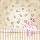 Uitstekende achtergrond met cupcake Royalty-vrije Stock Foto's