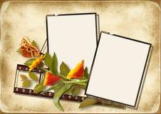 Uitstekende achtergrond met film en bloemen Royalty-vrije Stock Afbeeldingen