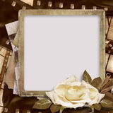 Uitstekende achtergrond met foto-kader en filmstrook Royalty-vrije Stock Afbeelding