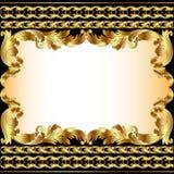 Uitstekende achtergrond met gouden patroon en grens Stock Fotografie