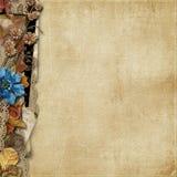 Uitstekende achtergrond met grens van grungebloemen en kant Royalty-vrije Stock Foto's