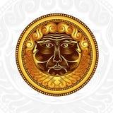 Uitstekende achtergrond met het gouden gezicht van de etiketbaard in rond kader Royalty-vrije Stock Foto