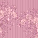 Uitstekende achtergrond met krabbelbloemen op roze sering Royalty-vrije Stock Foto's