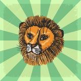 Uitstekende achtergrond met leeuw vector illustratie