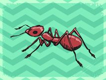 Uitstekende achtergrond met mier stock illustratie