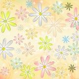 Het madeliefje van de lente bloeit over beige oude document achtergrond met cirkel vector illustratie