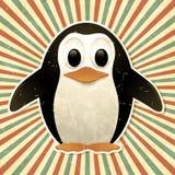 Uitstekende achtergrond met pinguïn Stock Afbeelding