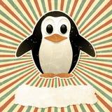 Uitstekende achtergrond met pinguïn Stock Foto