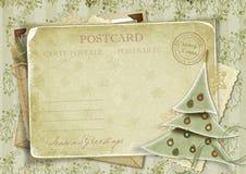 Uitstekende achtergrond met prentbriefkaar en Kerstmis RT Royalty-vrije Stock Afbeelding