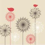Uitstekende achtergrond met rode vogels en bloemen Stock Afbeeldingen