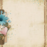 Uitstekende achtergrond met turkoois bloemen en hart Stock Fotografie
