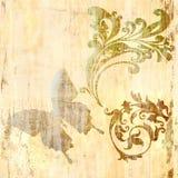 Uitstekende achtergrond met vlinder Stock Afbeeldingen